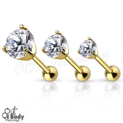 Cartilage/ Tragus Barbell W/ Prong Set Round CZ In IP Gold