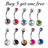 8mm Basic 316L Surgical Steel Belly Ring W/ Double Gem Balls