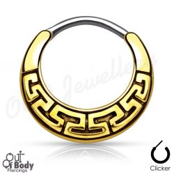 Septum Clicker Round Hinged Tribal Maze Design W/ Gold IP