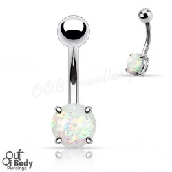 8mm Opal Glitter Ball Prong Set 316L Steel Navel Ring