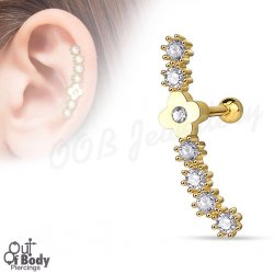 Cartilage/ Helix CZ Lined Row W/ Flower Top In Gold IP Barbell