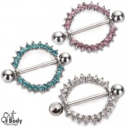 316L Steel Barbell W/ Crystal Set Nipple Ring