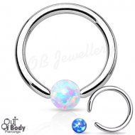 316L Steel Faux Fire Opal Ball Captive Bead Ring