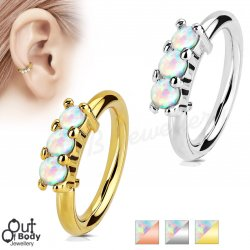Ear Cartilage Bendable Hoop Ring With 3 Lined White Opals