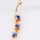 Gold Plated Belly Ring W/ Dangling Prong Set Blue CZ Gems