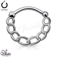 Septum Clicker Round Hinged Chain In Hematite IP Nose Ring