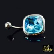Blue Square Cut Gem Belly Ring