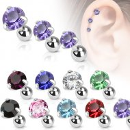 Cartilage/ Tragus Claw Set CZ Round Gem Top Mix Size Barbells