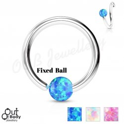 Septum Cartilage/Ear Hoop Fixed Opal Ball Bendable 316L Ring