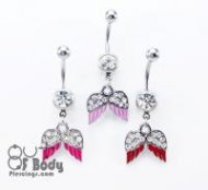 Crystal Paved Angel Wings Belly Ring