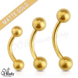 316L S. Steel Curved Eyebrow Barbell In IP Matte Gold W/ Ball