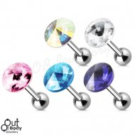 Cartilage/ Tragus Barbell W/ Pointy Crystal Gem Top 316L Steel
