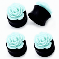Acrylic Black Saddle Plug With Pale Green Rose Top