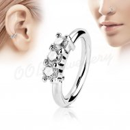 Hoop Nose Ring Bendable Lined W/ 3 Clear Prong CZ