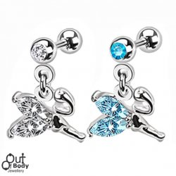 Cartilage/ Helix Barbell W/ Gem Ball & Dangle Weeping Fairy