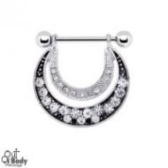 Radiant Double Cresent Crystal Moon Nipple Shield Ring