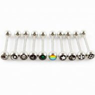 Dome Logo Tongue Barbell W/ Rounded Top In Mixed Sizes