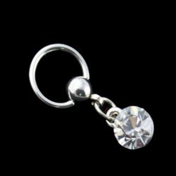 316L Steel Captive Bead Ring W/ Dangling Solitaire Crystal Gem