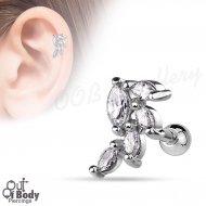 Cartilage/ Helix Marquise Cut CZ Vine Cluster Top Barbell