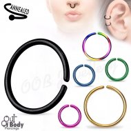 Hoop Nose Ring Rounded Ends W/ Titanium Over 316L Steel
