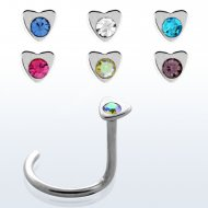 20G/ 0.8mm Crystal Centered Heart Top Nose Screw