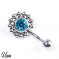 Aqua CZ Sunflower Belly Ring W/ Petite Beads
