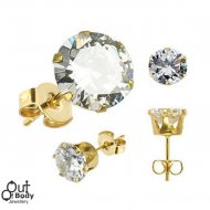 316L Stainless Steel Stud Gold Plated Earrings W/ Round CZ