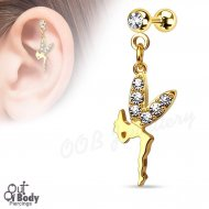 Cartilage/ Helix Barbell W/ Dangling Fairy CZ Paved Wing IP Gold