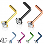 20G L-Bend Nose Stud CZ Top W/ IP Titanium Colours