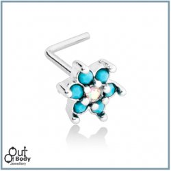 Spring Flower CZ Sparkle W/ Prong Turquoise L Bend Stud