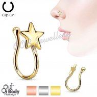 Non Piercing Nose Clip W/ Star In IP Gold Or Silver Tone