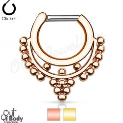 Septum Clicker Hinged Goddess Beaded Collar W/ IP Gold Nose Ring