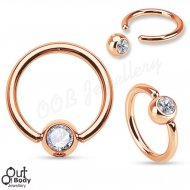 316L Steel Captive Bead Ring W/ IP Rose Gold And Gem Ball