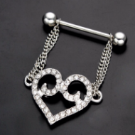 Dangling Crystal Paved Heart W/ Double Chains Nipple Ring
