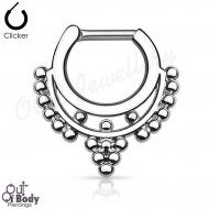 Septum Clicker Hinged Goddess Beaded Collar Nose Ring