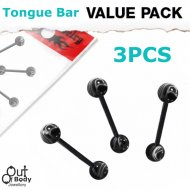Acrylic Marbled Black Ball w/ Bioplast Barbell 3PC Value Pack