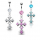 Prong Set Crystal Belly Ring W/ Dangling Vintage Crystal Cross