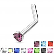 18G 20G 22G L-Bend Round Claw Set CZ Nose Ring