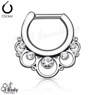 Septum Clicker Round Floral W/ Gems Nose Ring
