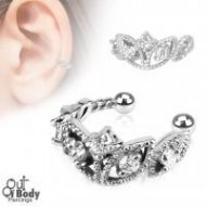 Cartilage/ Helix Ear Cuff Non Piercing W/ Bead Trim CZ Design