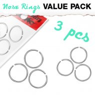 Hoop Nose Ring Basic Line 3pc Value Pack