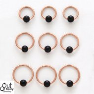 316L Steel Captive Bead Hoop 14KT Rose Gold Plate W/ Onyx Ball