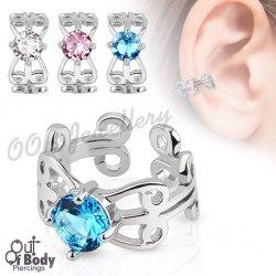 Cartilage/ Helix Ear Cuff Non Piercing Carved Swirls W/ CZ