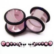 Acrylic Marbled Clear Plug With Pink Swirls & O-Rings