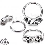 316L Steel Captive Bead Ring W/ Double Joined Skull Bead