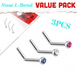 20G L-Bend Nose Stud 3pc Value Pack Of Mixed Colours