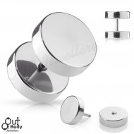 Fake Cheater Plug Mirror Polished Solid 316L Surgical Steel