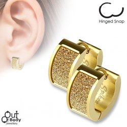 Square Gold Sand Sparkle Hoop Earrings In Gold IP