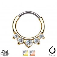 Septum Clicker Round Hinged Princess Drop CZ Nose Ring/ Gold IP