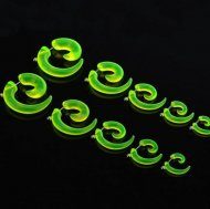 Acrylic Spiral Fake Plug/ Taper In Transparent Green